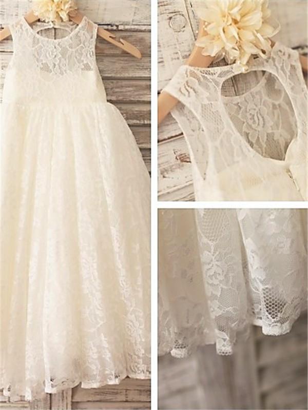 A-Linien-/Princess-Stil U-Ausschnitt Bodenlang Spitze Blumenmädchenkleid mit Perlenstickereien