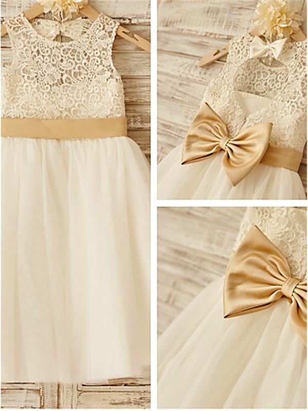 A-Linien-/Princess-Stil U-Ausschnitt Bodenlang Tüll Blumenmädchenkleid mit Perlenstickereien Schleifen