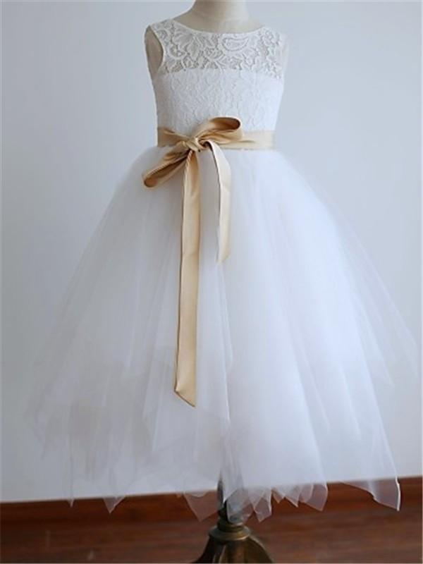 A-Linien-/Princess-Stil U-Ausschnitt Bodenlang Tüll Blumenmädchenkleid mit Perlenstickereien Schärpen/Bänder/Gürtel