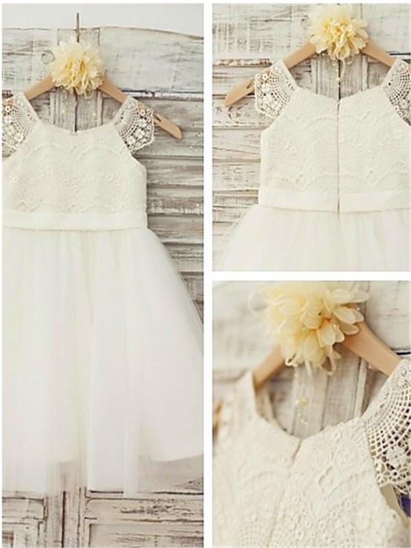A-Linien-/Princess-Stil U-Ausschnitt Bodenlang Tüll Blumenmädchenkleid mit Spitze