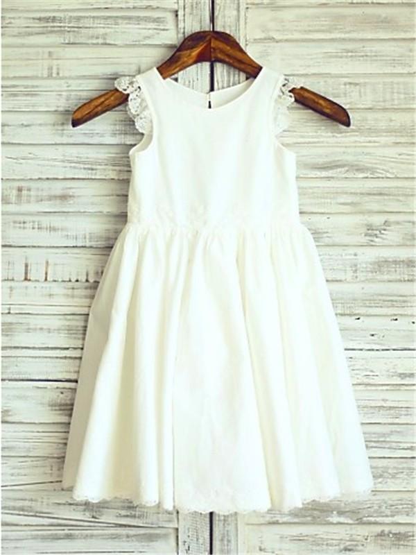 A-Linien-/Princess-Stil U-Ausschnitt Wadenlang Chiffon Blumenmädchenkleid mit Spitze