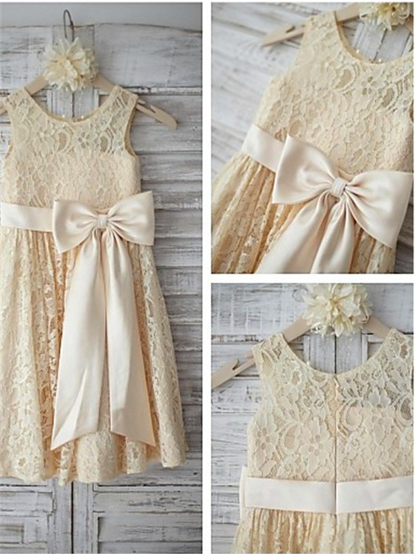 A-Linien-/Princess-Stil U-Ausschnitt Bodenlang Spitze Blumenmädchenkleid mit Strasssteine