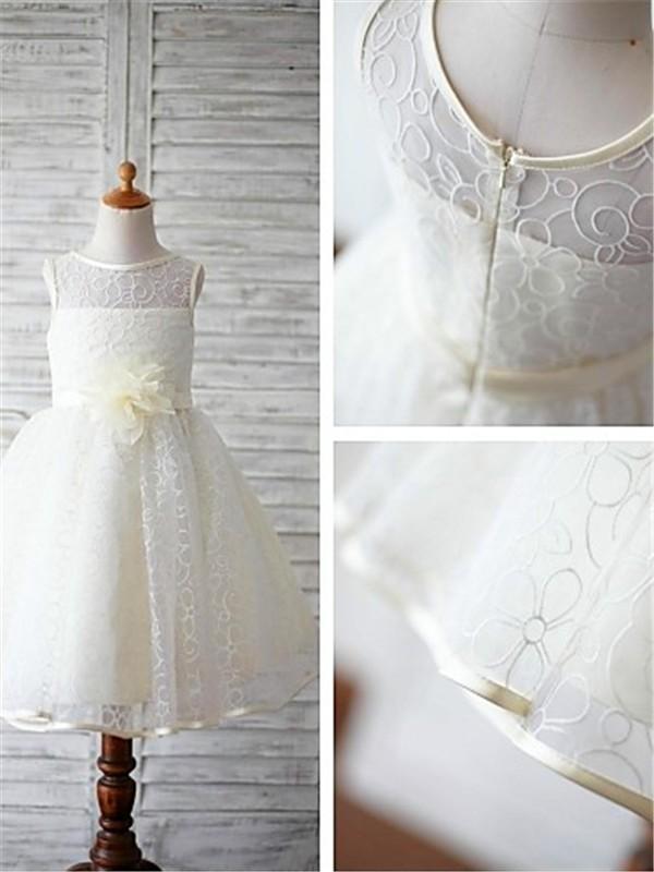 Duchesse-Stil U-Ausschnitt Bodenlang Spitze Blumenmädchenkleid mit Spitze Schleifen