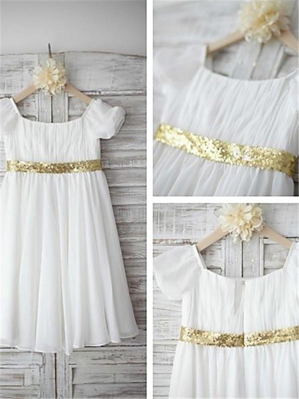 A-Linien-/Princess-Stil Bateau-Ausschnitt Kurze Ärmel Bodenlang Chiffon Blumenmädchenkleid mit Perlenstickereien