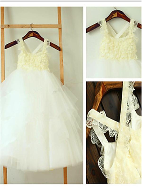 Duchesse-Stil Rechteckiger Ausschnitt Schichten Wadenlang Tüll Blumenmädchenkleid mit Falten