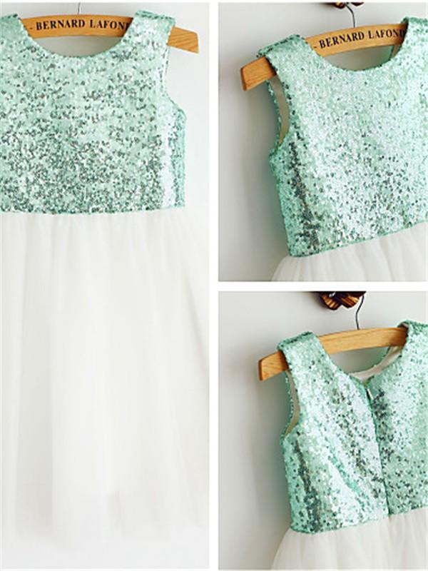 A-Linien-/Princess-Stil U-Ausschnitt Wadenlang Tüll Blumenmädchenkleid mit StickereienZiermünzen