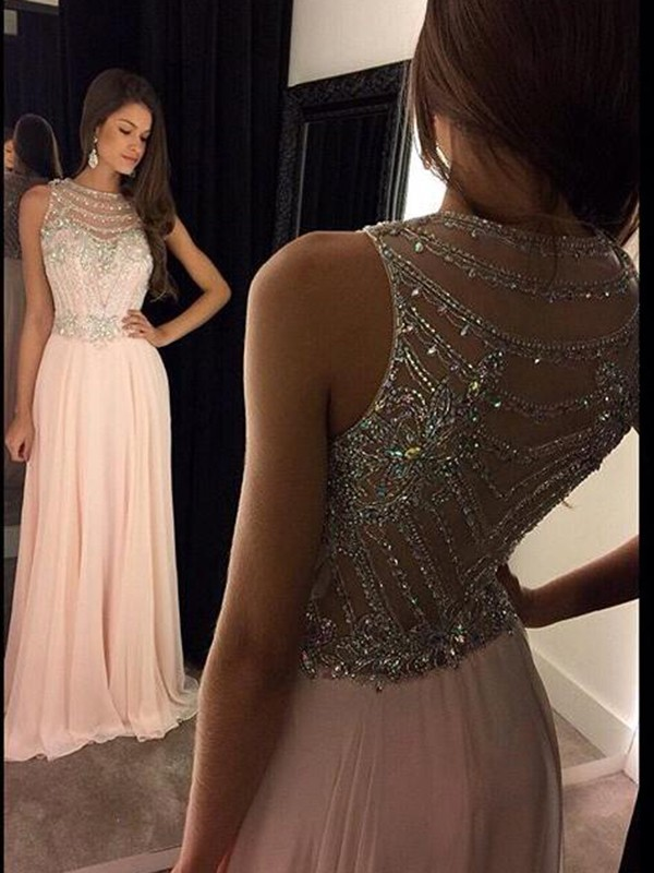 A-Linien-/Princess-Stil U-Ausschnitt Pinselschleppe Chiffon Abendkleid mit Kristalle