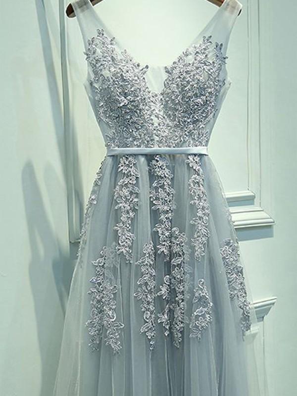A-Linien-/Princess-Stil V-Ausschnitt Bodenlang Tüll Abendkleid mit Applikationen
