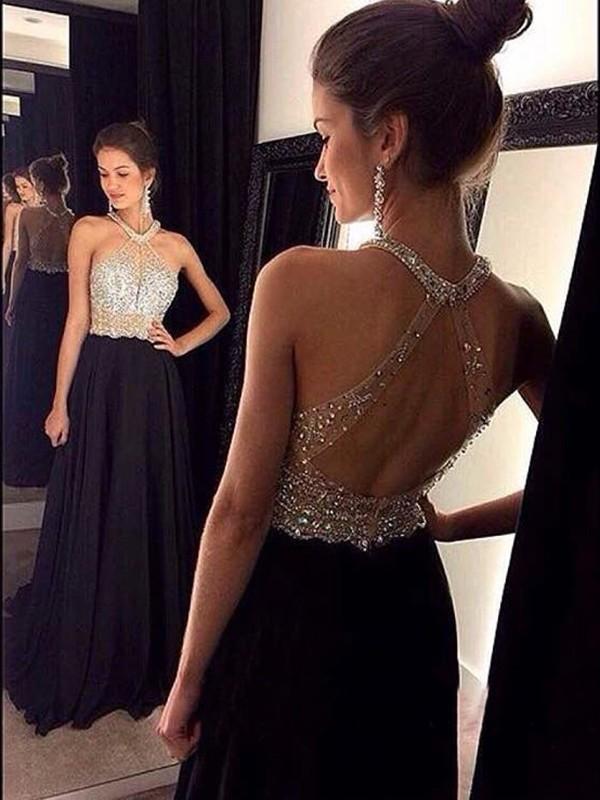 Etui-Linie Neckholder Pinselschleppe Chiffon Abendkleid mit Perlenstickereien