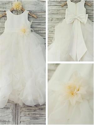 Duchesse-Stil U-Ausschnitt Bodenlang Organza Blumenmädchenkleid mit Handgemachte Blumen