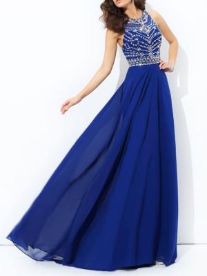 A-Linien-/Princess-Stil Stehkragen Bodenlang Chiffon Abendkleid mit Perlenstickereien
