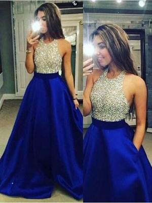 Duchesse-Stil Juwel-Ausschnitt Bodenlang Satin Abendkleid mit Kristalle