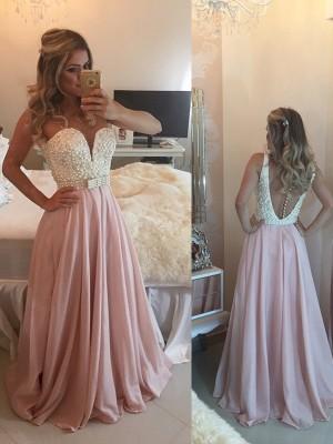 A-Linien-/Princess-Stil Herzausschnitt Bodenlang Chiffon Abendkleid mit Perlen