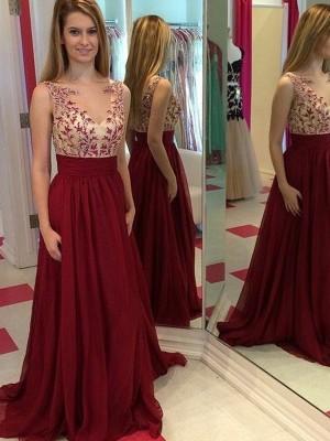 A-Linien-/Princess-Stil Bateau-Ausschnitt Bodenlang Chiffon Abendkleid mit Applikationen