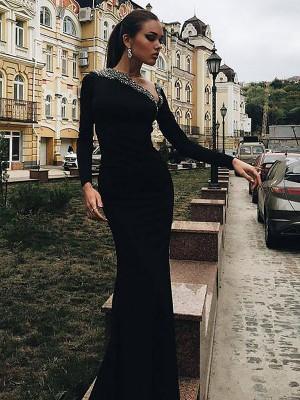 Trompeten-/Meerjungfrauenkleider One-Shoulder-Träger Lange Ärmel Pinselschleppe Satin Abschlussballkleid mit Perlenstickereien