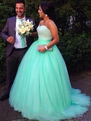 Duchesse-Stil Herzausschnitt Pinselschleppe Ärmellos Tüll Abendkleid in Übergröße mit Perlenstickereien