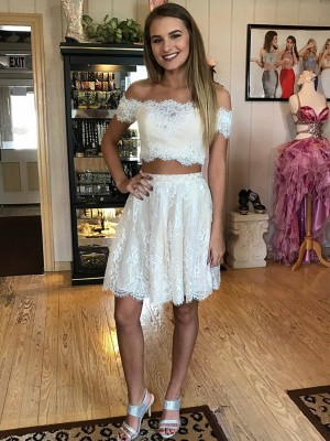 A-Linien-/Princess-Stil Schulterfrei Spitze Ärmellos Kurze zweiteilige Kleid mit Spitze