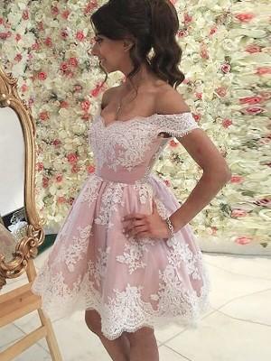 A-Linien-/Princess-Stil Schulterfrei Tüll Ärmellos Kurze Kleid mit Applikationen