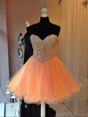 A-Linien-/Princess-Stil Herzausschnitt Tüll Ärmellos Kurze Kleid mit Perlenstickereien