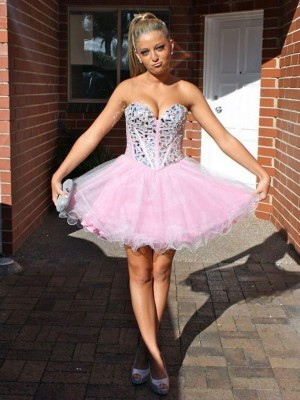 Duchesse-Stil Herzausschnitt Tüll Ärmellos Kurze Abiballkleid mit Perlenstickereien