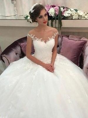 Duchesse-Stil Schulterfrei Hofschleppe Ärmellos Tüll Brautkleid
