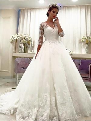 Duchesse-Stil Bateau-Ausschnitt Hofschleppe Dreiviertelärmel Tüll Brautkleid