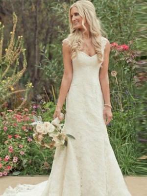 Trompeten-/Meerjungfrauenkleider V-Ausschnitt Pinselschleppe Ärmellos Brautkleid