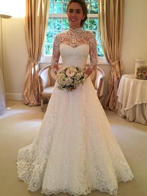 Duchesse-Stil Stehkragen Hofschleppe Lange Ärmel Spitze Hochzeitskleid mit Spitze