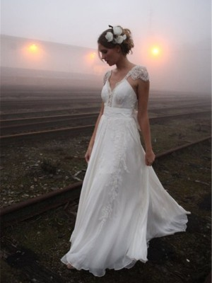 A-Linien-/Princess-Stil V-Ausschnitt Bodenlang Ärmellos Chiffon Brautkleid mit Spitze