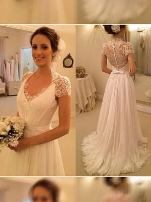 A-Linien-/Princess-Stil V-Ausschnitt Pinselschleppe Ärmellos Chiffon Hochzeitskleid mit Spitze