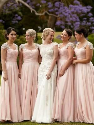A-Linien-/Princess-Stil Rechteckiger Ausschnitt Bodenlang Chiffon Kurze Ärmel Brautjungfernkleid mit Perlenstickereien