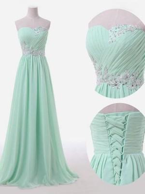 A-Linien-/Princess-Stil Herzausschnitt Chiffon Bodenlang Ärmellos Brautjungfernkleid mit Perlenstickereien