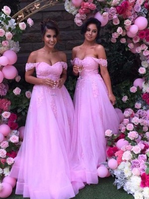 A-Linien-/Princess-Stil Schulterfrei Tüll Bodenlang Ärmellos Brautjungfernkleid mit Applikationen
