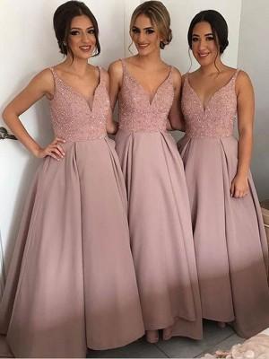 A-Linien-/Princess-Stil V-Ausschnitt Taft Bodenlang Ärmellos Brautjungfernkleid mit Perlenstickereien