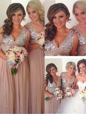 A-Linien-/Princess-Stil V-Ausschnitt Chiffon Bodenlang Ärmellos Brautjungfernkleid mit Ziermünzen
