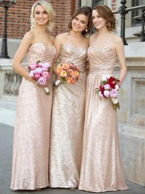 A-Linien-/Princess-Stil Herzausschnitt Pailletten Bodenlang Ärmellos Brautjungfernkleid