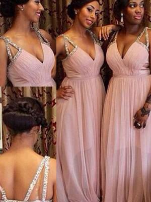 A-Linien-/Princess-Stil V-Ausschnitt Chiffon Bodenlang Ärmellos Brautjungfernkleid mit Perlenstickereien