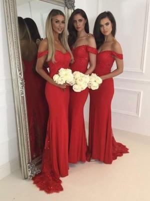 Trompeten-/Meerjungfrauenkleider Schulterfrei Jersey Bodenlang Ärmellos Brautjungfernkleid