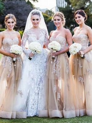 A-Linien-/Princess-Stil Herzausschnitt Tüll Bodenlang Ärmellos Brautjungfernkleid mit Applikationen