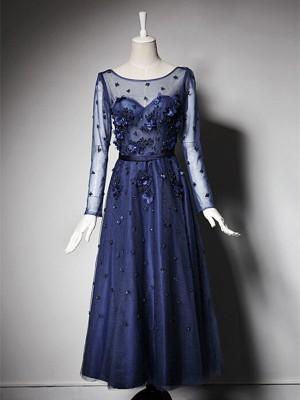 A-Linien-/Princess-Stil U-Ausschnitt Lange Ärmel Tüll Bodenlang Brautmutterkleid mit Perlenstickereien
