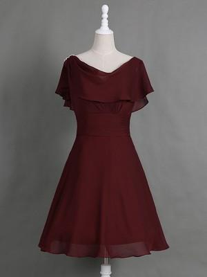 A-Linien-/Princess-Stil Cowl Kappenhülsen Chiffon Knielang Brautmutterkleid mit Falten Rüschen