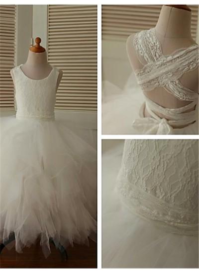 Duchesse-Stil U-Ausschnitt Spitze Bodenlang Organza Blumenmädchenkleid mit Perlenstickereien