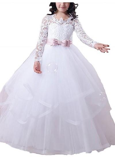 Duchesse-Stil Juwel-Ausschnitt Lange Ärmel Bodenlang Tüll Blumenmädchenkleid mit Spitze