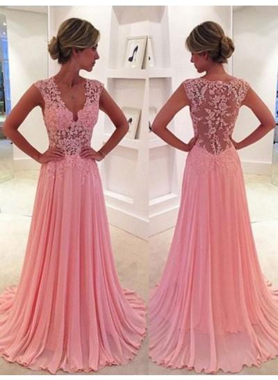 A-Linien-/Princess-Stil V-Ausschnitt Pinselschleppe Chiffon Abendkleid mit Spitze