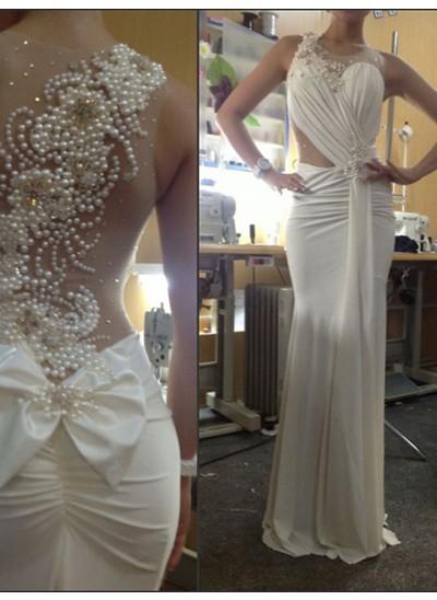 Trompeten-/Meerjungfrauenkleider U-Ausschnitt Pinselschleppe Chiffon Abendkleid mit Perlen