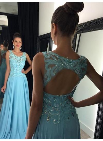 A-Linien-/Princess-Stil U-Ausschnitt Ärmellos Bodenlang Chiffon Abendkleid mit Applikationen