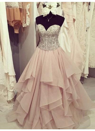 A-Linien-/Princess-Stil Herzausschnitt Bodenlang Chiffon Abendkleid mit Perlenstickereien