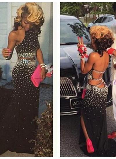 Etui-Linie Neckholder Pinselschleppe Chiffon zweiteilige Abendkleid mit Perlenstickereien