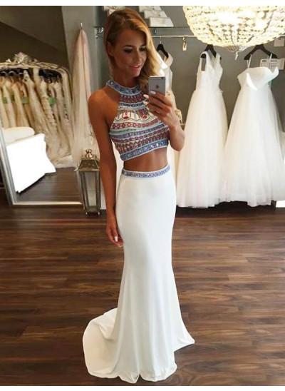 Trompeten-/Meerjungfrauenkleider Neckholder Pinselschleppe Chiffon zweiteilige Kleid mit Perlenstickereien