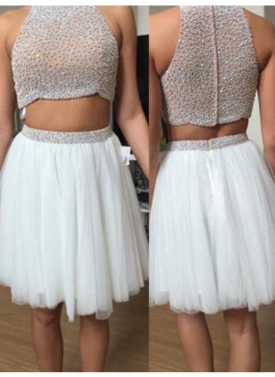 A-Linien-/Princess-Stil Stehkragen Tüll Kurze zweiteilige Kleid mit Perlenstickereien
